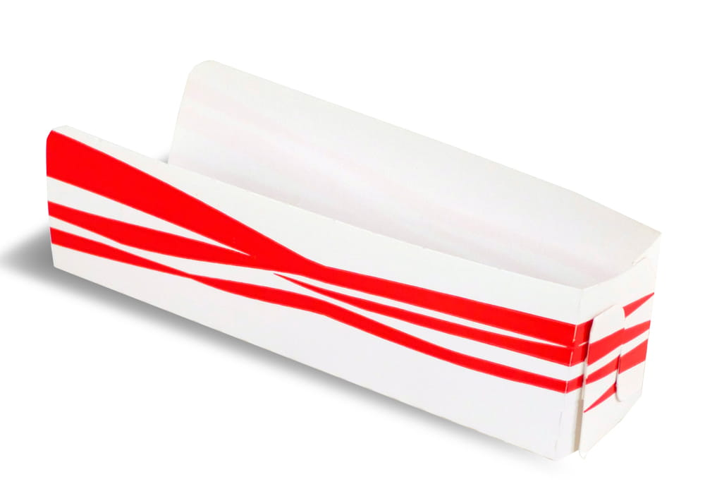 An open red and white hot dog folding container.