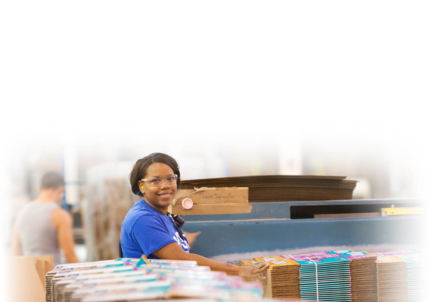 Woman working in packaging factory